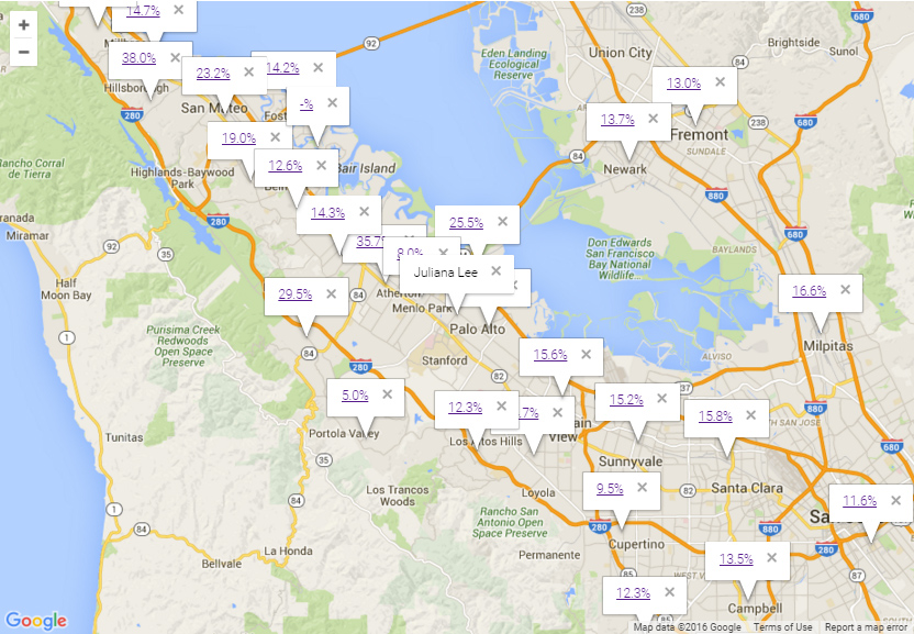 Map showing Silicon Valley real estate market trends